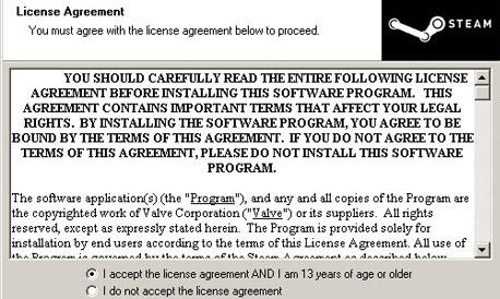 STEAM הסכם רשיון